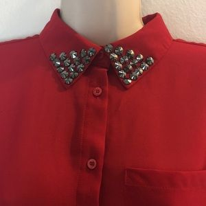 Myung S Park Red Embellished Blouse S